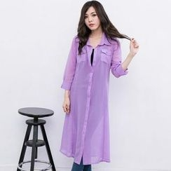 Lucky Leaf - 3/4-Sleeve Chiffon Long Shirt