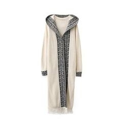 Chicsense - Patterned Hooded Long Knit Cardigan
