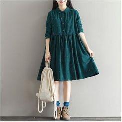 Diosa - Long-Sleeve Corduroy Pleated Dress