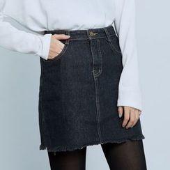 BAIMOMO - Denim A-Line Skirt