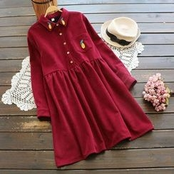 YOYO - Long-Sleeve Embroidery Corduroy Dress