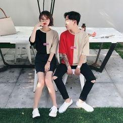 Simpair - 情侶款雙色中袖T恤