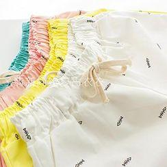 ninna nanna - Fish Bone Print Drawstring Shorts