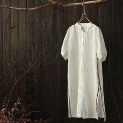 Rosadame - 短袖侧开衩长衬衣