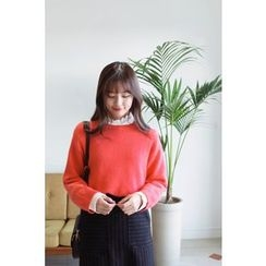CHERRYKOKO - Dip-Back Wool Blend Knit Top