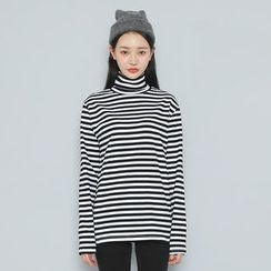 Envy Look - Turtle-Neck Striped T-Shirt