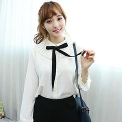 Dodostyle - Pleated Detail Ribbon-Neck Blouse