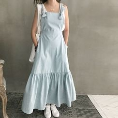 NANING9 - Beribboned Denim Maxi Jumper Dress