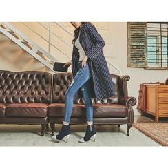 UUZONE - Cuff-Hem Distressed Skinny Jeans