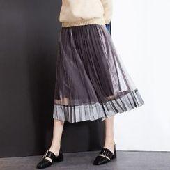 Halona - Mesh-Panel Pleated Skirt