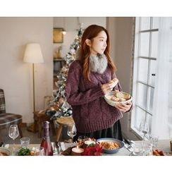 GOROKE - V-Neck Mélange Cable-Knit Sweater