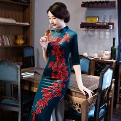 Janelle Qipao - Elbow-Sleeve Floral Print Maxi Cheongsam