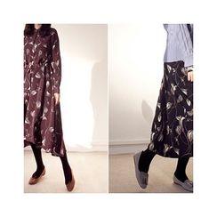 MASoeur - Floral Print Drawstring-Waist Dress