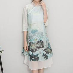 Diosa - 3/4-Sleeve Print Cheongsam