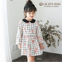 LILIPURRI - Girls Peter Pan-Collar Check Dress