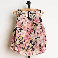 JVL - Sleeveless Floral Chiffon Top