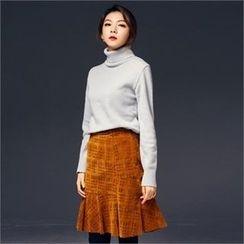 MAGJAY - Ruffled-Hem Perforated Skirt