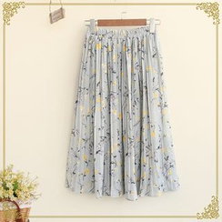 Fairyland - Floral Print Accordion-Pleat Chiffon Skirt