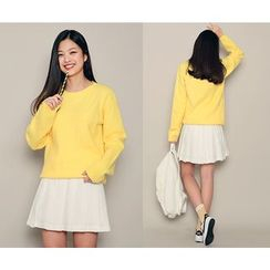 HOTPING - Round-Neck Colored Knit Top