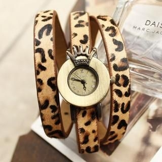 Miss Girl - Genuine-Leather Leopard-Print Strap Watch
