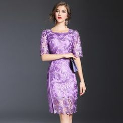 Elabo - Embroidered Short-Sleeve Sheath Dress