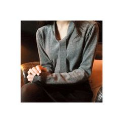 CHERRYKOKO - Inset Scarf Wool Blend Knit Top