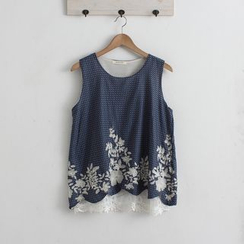 Blue Hat - Sleeveless Embroidery Dotted Top