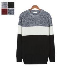 DANGOON - Crew-Neck Color-Block Knit Top