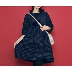 HOTPING - 3/4-Sleeve Dotted Dress