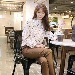 CLICK - Frilled High-Neck Top