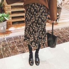 mimi&didi - Flower Patterned Pleated Long Skirt