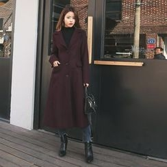 DABAGIRL - Notched-Lapel Wool Blend Long Coat with Sash