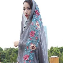 Rita Zita - Floral Embroidered Linen Blend Scarf