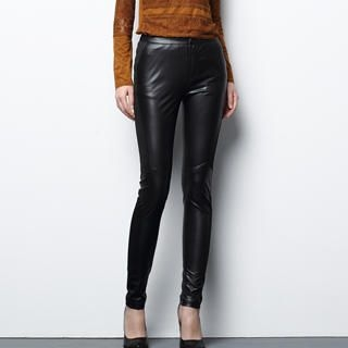 Faux-Leather Panel Skinny Pants