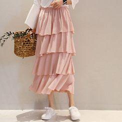 NANING9 - Elastic-Waist Tiered Skirt