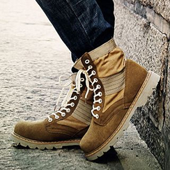 NOVO - Genuine Suede Lace Up Short Boots