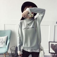 Qimi - Lace Trim Letter Embroidered Sweater