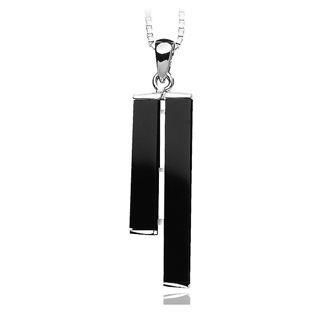 BELEC - White Gold Plated 925 Sterling Silver Pendant with Black Artificial Agate and 45cm Necklace