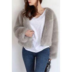 migunstyle - Round-Neck Faux-Fur Jacket