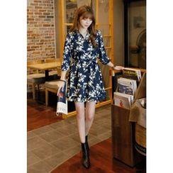 REDOPIN - Floral Print Placket Dress