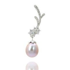 Keleo - 18K White Gold Pendant with Diamonds and Fresh Water Pearl