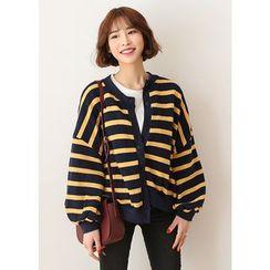 J-ANN - Puff-Sleeve Striped Cardigan