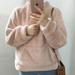 Dute - 純色絨毛連帽衫