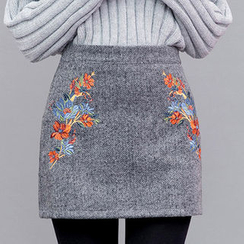 chuu - Flower-Embroidered Herringbone Mini Skirt