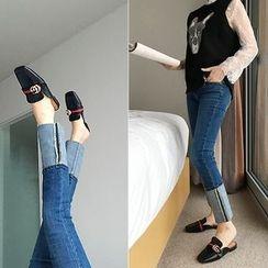 DISCOSALON - Cuff-Hem Straight-Cut Jeans