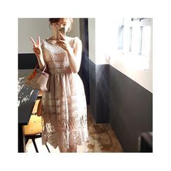 LEELIN - 無袖通花蕾絲A字連衣裙