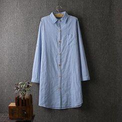 Blue Rose - Gingham Long Shirt