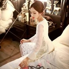 Dabuwawa - Tulle-Sleeve Lace Dress