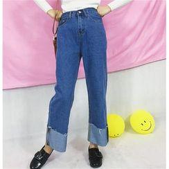 MUOVE - Cuff Hem Wide Leg Washed Jeans