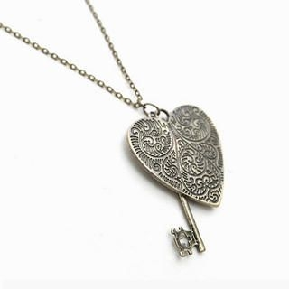 CatWorld - Engraved Heart & Key Necklace